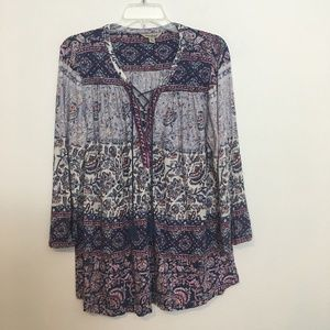 LUCKY BRAND Boho Print lace up peasant top 1X